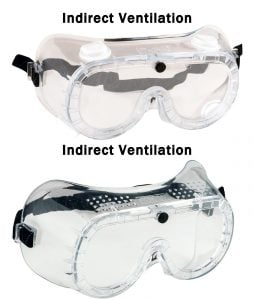 indirect vs direct safety goggles