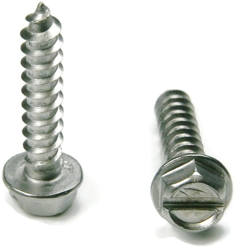 14 Slotted Hex Washer Head Stainless Steel Sheet Metal Screws