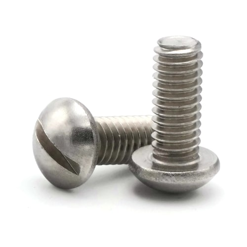 1 Long 10-24 Thread Size 18-8 Stainless Steel Slotted Rounded Head Screws